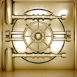 Illustration of golden bank vault door, front view — Stock Photo
