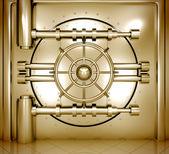 Illustration of golden bank vault door, front view — Stock Photo