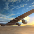 Plane flies over the sea at sunset — Stock Photo #44431857