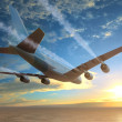 Plane flies over the sea at sunset — Stock Photo #44431913