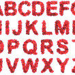 Red flower alphabet isolated on white backround — Stock Photo #45863389