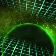 Green Planet Space Background - Stock Photo