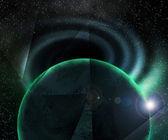 планета вблизи чёрной дыры космический фон — Стоковое фото