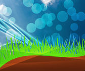 Green Grass And Blue Sky Background — Stock Photo