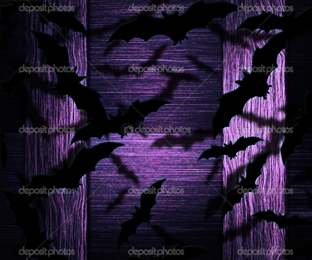 Bats Halloween Violet Background — Stock Photo #12768569