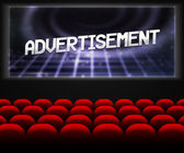 Advertisment in Cinema Background — Stock Photo