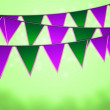 Green Carnival Flags Background - Stock Photo
