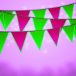 Violet Carnival Flags Background - Stock Photo