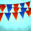 Blue Carnival Flags Background - Stock Photo