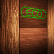 Eco on Wooden Box - Stock Photo