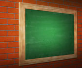 Black Board on Brick Wall — Stock Photo