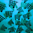 Blue Shopping Cart Background — Stock Photo