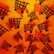Orange Shopping Cart Background - Stock Photo