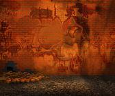 Orange Brick Backyard Street Background — Stock Photo