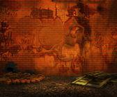 Grunge Orange Brick Backyard Background — Stock Photo
