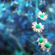 Blue Abstract Spring Background - Stock Photo