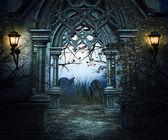 Fondo oscuro cementerio — Foto de Stock