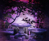 Violet Garden at Night Background — Stock Photo