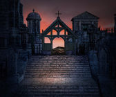 Stone Stairs Dark Gothic Background — Stock Photo