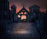 Stone Stairs Dark Gothic Background — Stock Photo