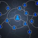 Синие круги социальной сети фон изображения — Стоковое фото