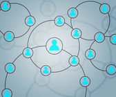 Blue Social Circles Network Backdrop Image — Stock Photo
