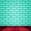 Stock Photo: Teal Brick Room Backdrop