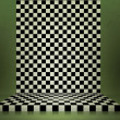 图库照片: Green Chessboard Stage Room Background
