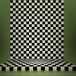 Stock Photo: Green Chessboard Stage Room Background