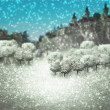 Winter Castle Fantasy Backdrop — Stock Photo