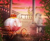 Carriage Castle Fantasy Backdrop — Stock Photo