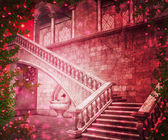 Pink Castle Interior Fantasy Backdrop — Stock Photo