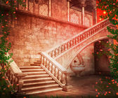 Stairs Castle Fantasy Backdrop — Stock Photo