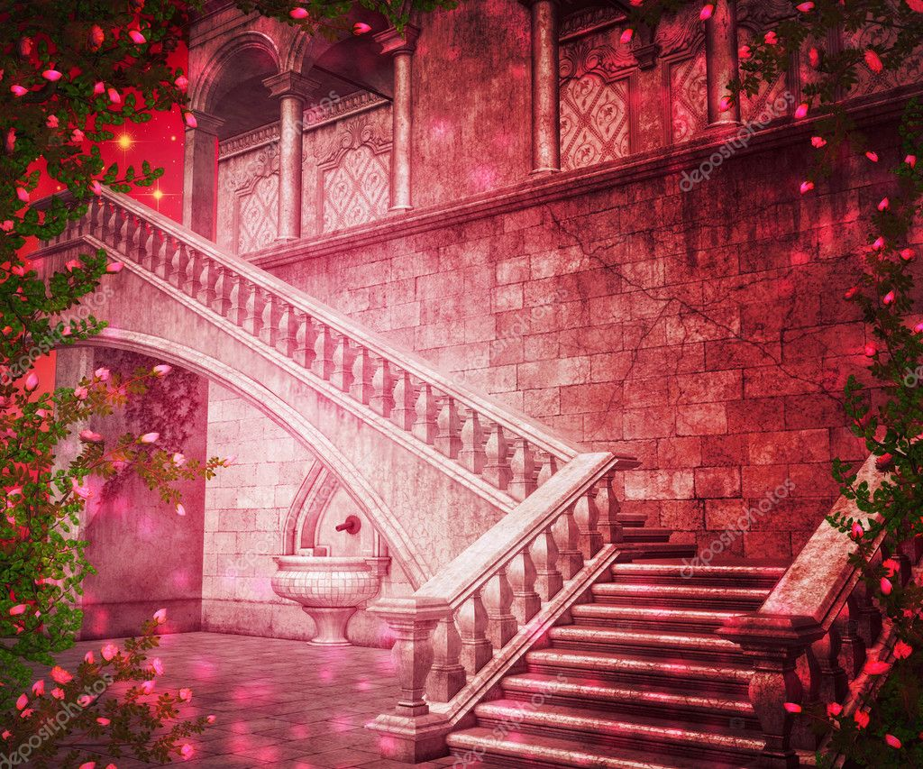 Pink Castle Interior Fantasy Backdrop Stock Photo
