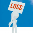 Loss on the sign little man — Stock Photo