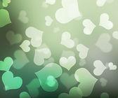 Hearts Green Bokeh Backdrop — Stock Photo
