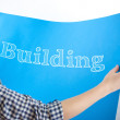 Building On Blueprint — Stock Photo