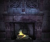 Medieval fireplace — Stock Photo
