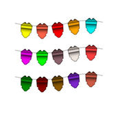 Festive Colourful small flags. Colourful tags — Stock Vector