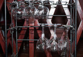 Rack for bar wineglasses — Stock Photo