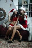Fanciulle belle neve celebra il nuovo anno — Foto Stock
