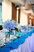 Wedding tables set for fine dining or another catered event — Stock Photo