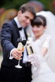 Novios con copas de champagne — Foto de Stock