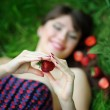 Stock Photo: Beautiful brunette girl with strawberry
