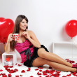 Valentines day woman with red heart balloon — Stock Photo