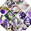 Collage of wedding photos in purple style — Stock Photo
