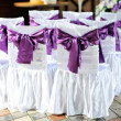 Stock Photo: The chairs are decorated with purple bows