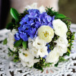 Stock Photo: Beautiful wedding bouquet on table