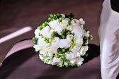 White wedding bouquet on background — Stock Photo