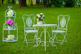 White table and chairs on the green grass — Stock Photo